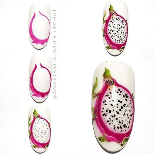 nail art in the form of a dragon fruit