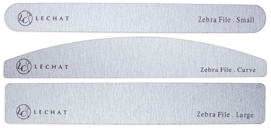 small, curved and large zebra files.