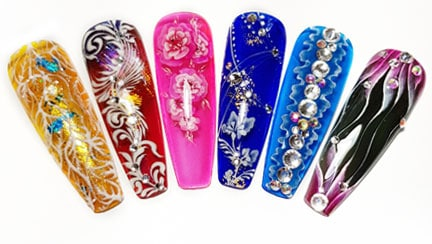 Nail decorations of various colors and designs