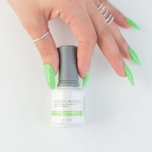 Fingers grasping LeChat's Perfect Match bottle in color Extra Lime Please
