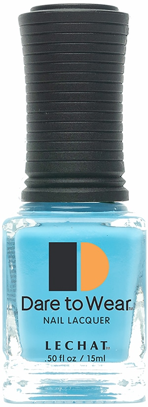 half liquid ounce bottle of blue Dare to Wear lacquer.