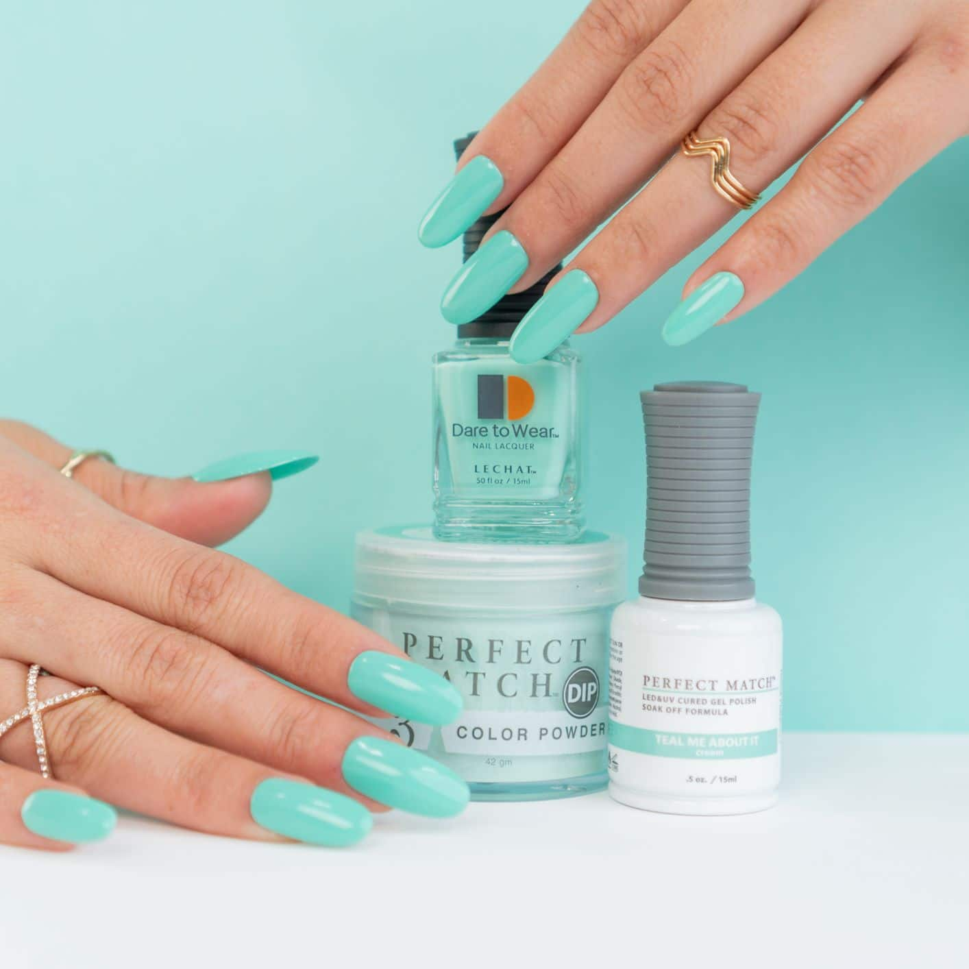 LeChat's Teal Me About it set of DW, PM and Dip powder