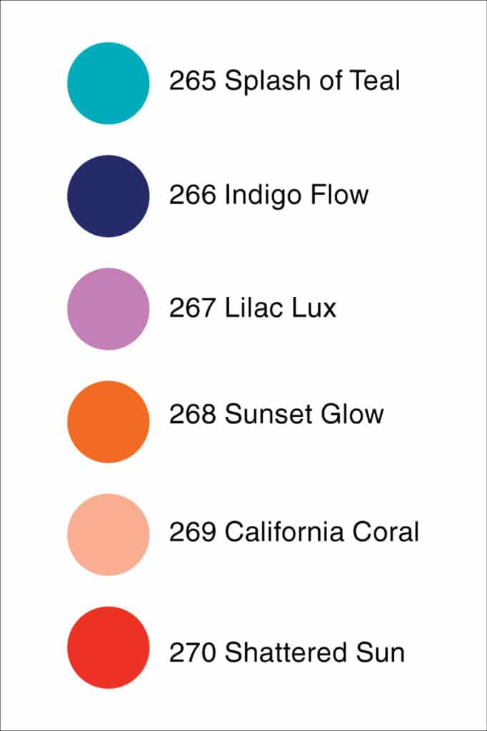 color swatches for Juicy Vibes Collection 265 through 270