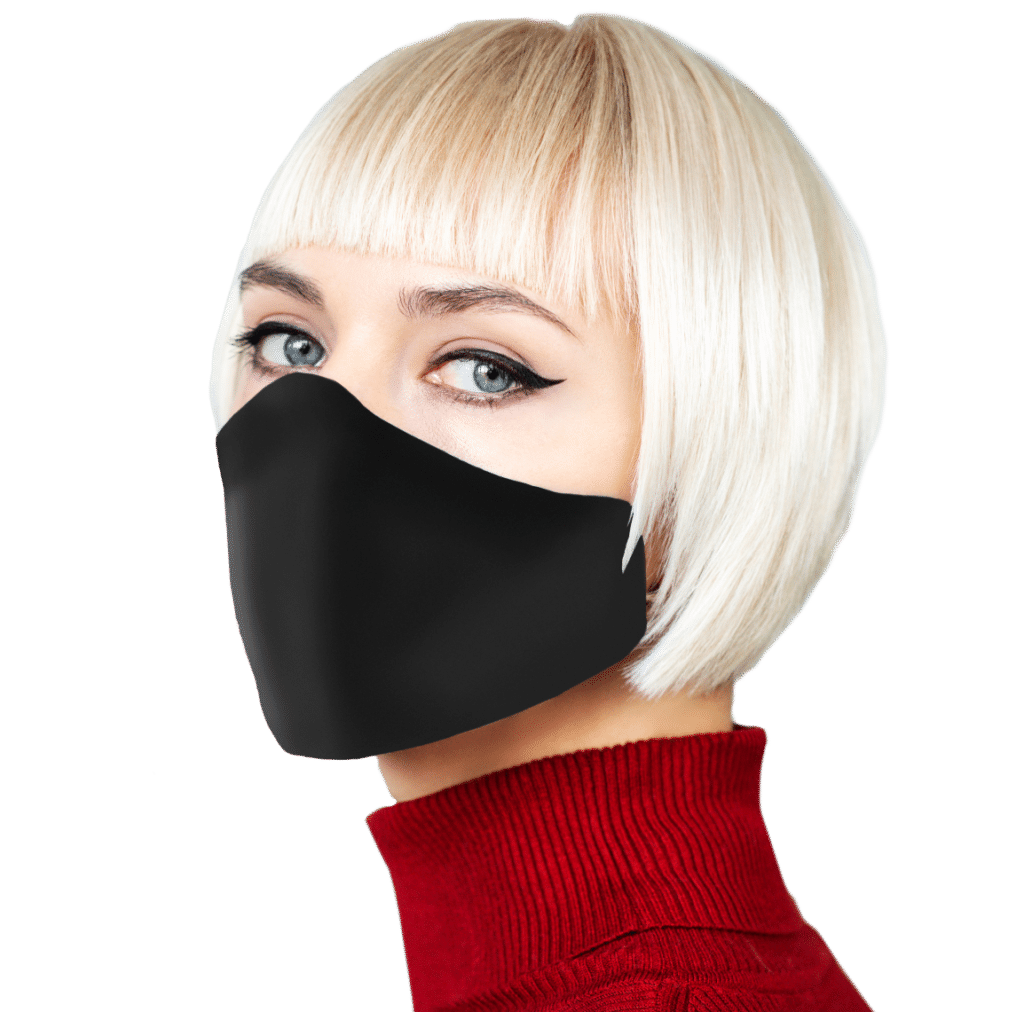 woman with short blonde hair wearing Lechat facemask