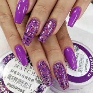 bright purple/pink dip powder nails with glitter