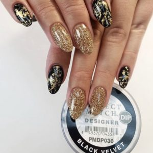black and gold glittery nails