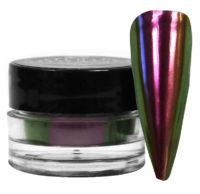jar of red mirano powder next to a nail tip