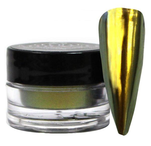 jar of yellow mirano powder next to a nail tip