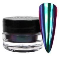 jar of green mirano powder next to a nail tip