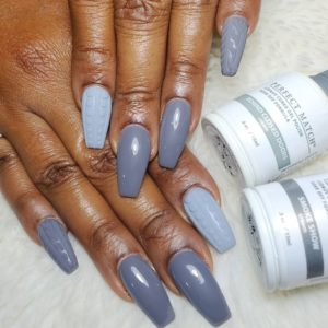 Two-toned 3D grey sweater nails with two bottles of Perfect Match Gel Polish featured