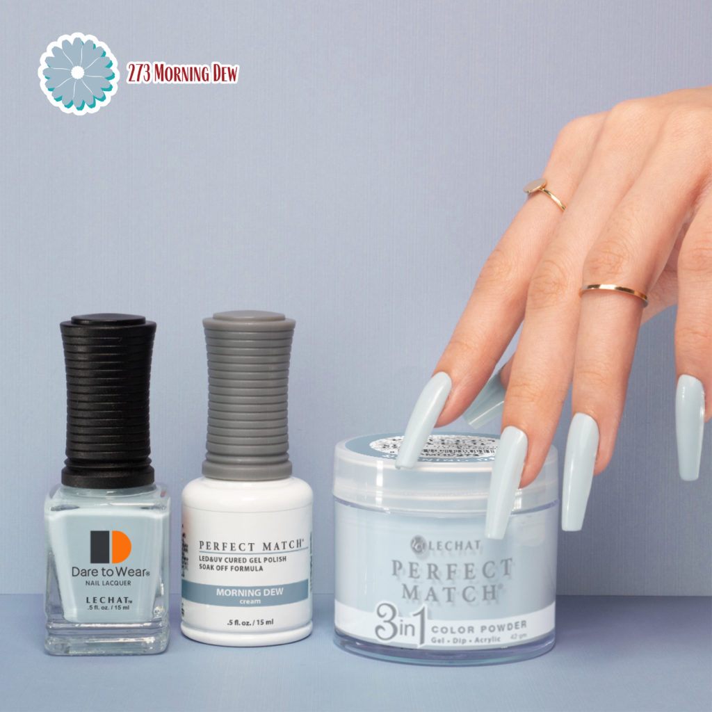 hand with nails painted with the product's color. The lacquer, gel polish, and 3in1 Powder are lined up next to each other
