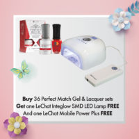 Buy 36 Perfect Match Gel & Lacquer sets, Get 1 LeChat Integlow SMD LED Lamp FREE and 1 LeChat Mobile Power Plus FREE