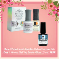 Buy 6 Perfect Match Metallux Gel and Lacquer Sets Get 1 Mirano Gel Top Sealer Gloss .5oz FREE